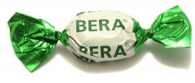Gefüllte Fruchtbonbons mit mehrfarbigem Werbedruck, Bonbons mit Logo in 4C