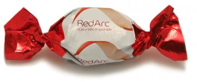 Karamellbonbons mit mehrfarbigem Werbedruck in 4C