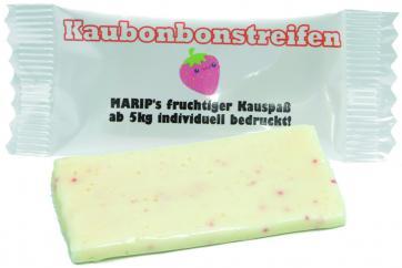Kaubonbon-Streifen Erdbeere mit mehrfarbigem Werbedruck in 4C