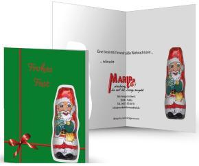 Nikolaus-Faltkarte, individuell bedruckt mit Logo Schokoladennicolaus