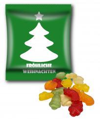 Kleine Werbetüte, 90 x 70, Frohe Weihnachten mit Weihnachtsfruchtgummi, Mehrfarbdruck 4c